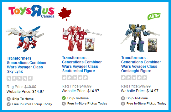 Transformers News: Transformers Combiner Wars: Skylynx, Onslaught, & Scattershot Listed At ToysRus.ca