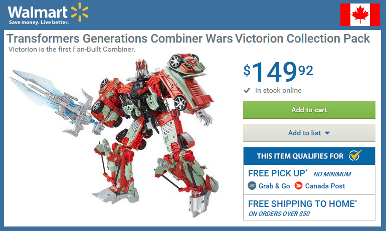 Transformers News: Transformers Combiner Wars Fan-Built Victorion: In-Stock At Wal-Mart.ca