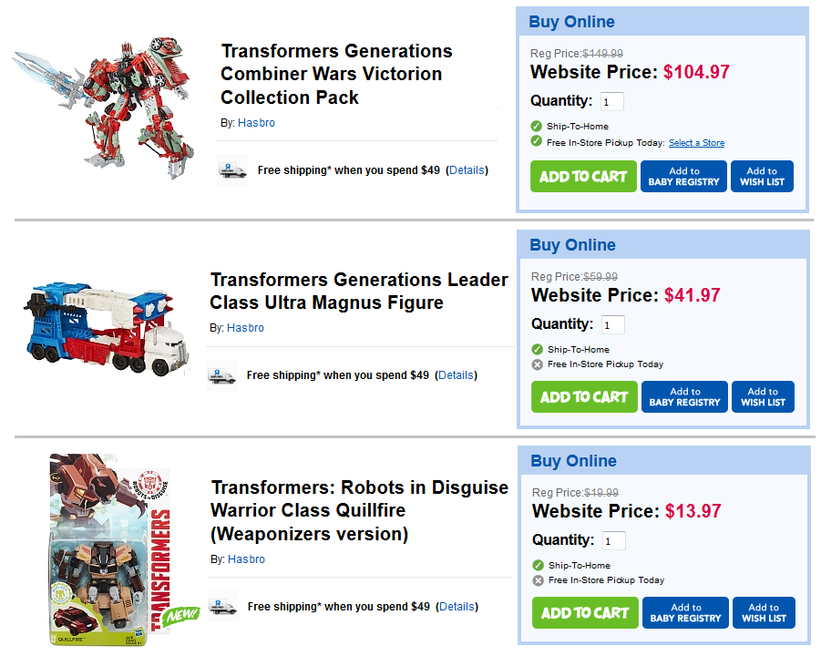Transformers News: Sale Starts Today at ToysRus Canada: 30% Off In Store And Online