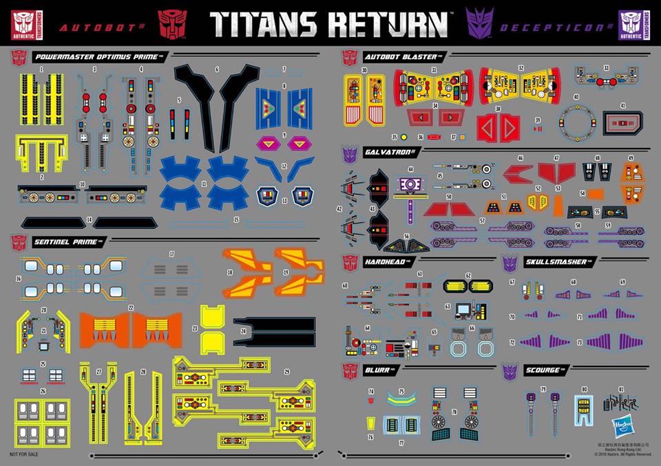 Transformers News: Transformers Titans Return Wave 1 Sticker Sheet Revealed