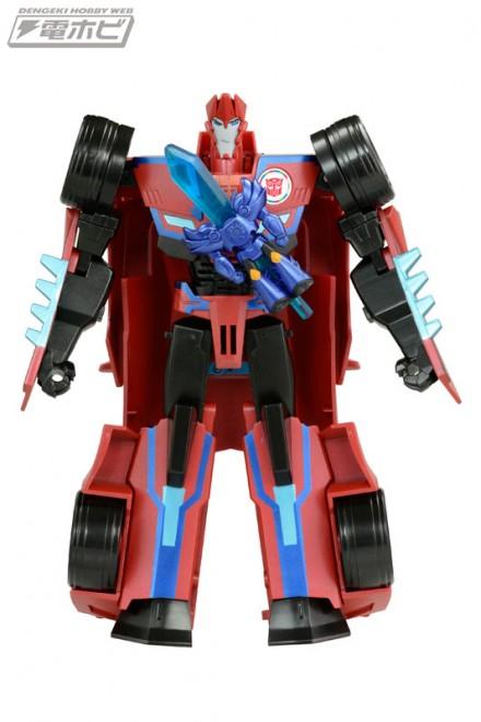 Transformers News: Takara Tomy Transformers Adventure TAV-53 and 54 Sideswipe and Scorponok Stock Images