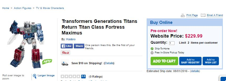 Transformers News: Preorders for Transformers Titans Return Wave 1 at Toysrus.ca with Price Breakdown and Release Date