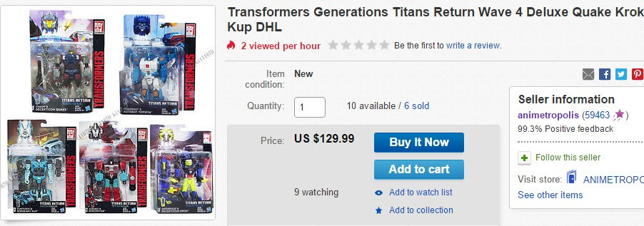Transformers News: All Classes for Titans Return Wave 4 Available on E-bay