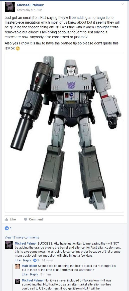 Transformers News: Update on Safety Cap for Takara Tomy MP-36 Megatron in Australia