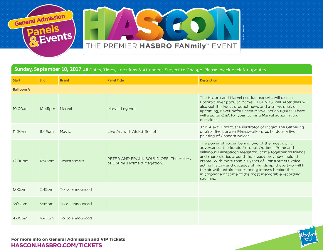 Transformers News: Full HASCON 2017 Transformers Panels and Event Schedule: IDW, Machinima, The Last Knight, More