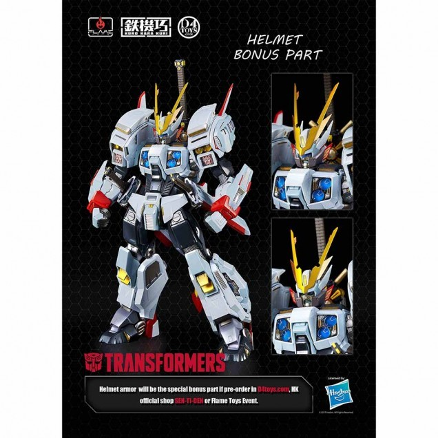 Transformers News: FlameToys Drift official Pre-Orders & Bonus Helmet Piece revealed