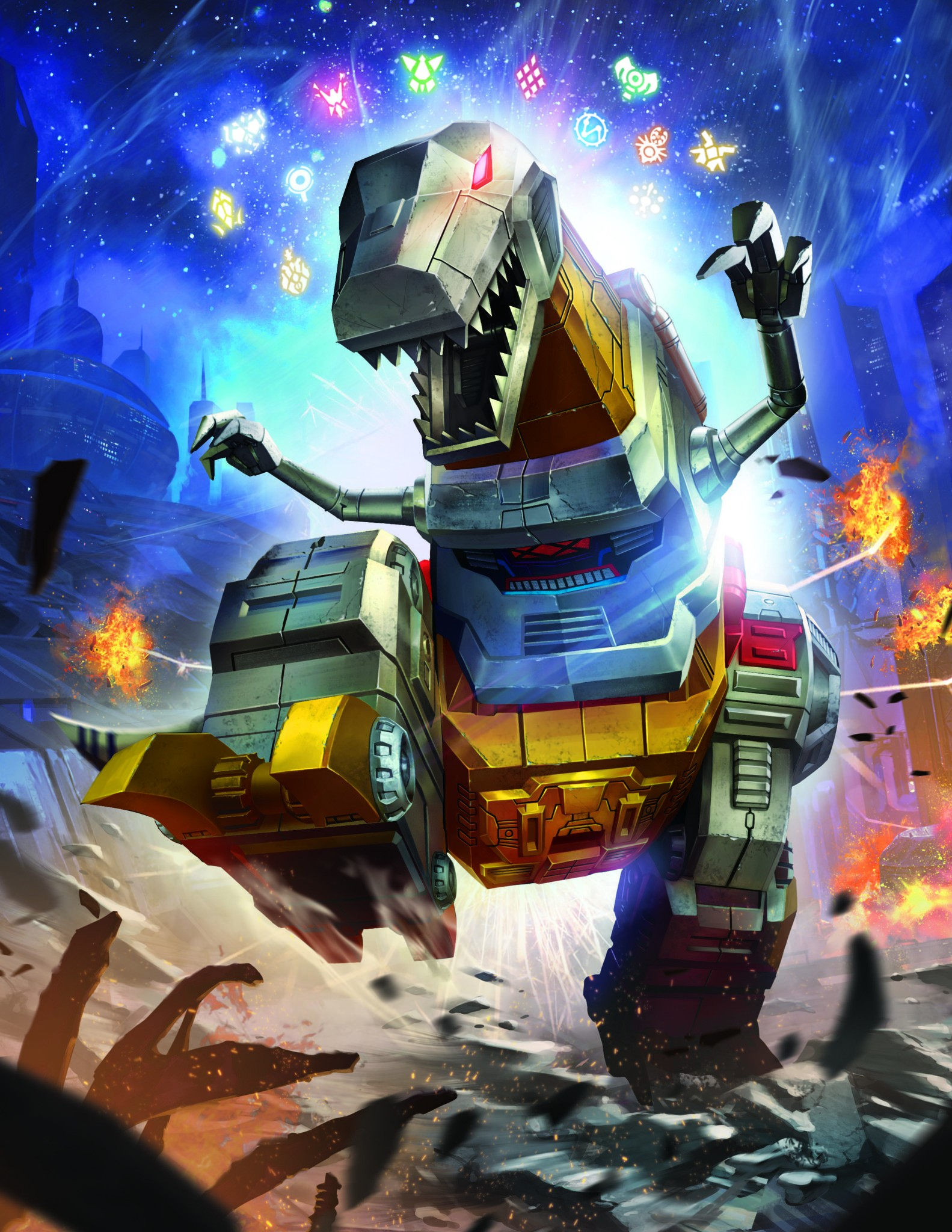 Transformers News: Official Artwork for Transformers Power of the Primes Dinobots