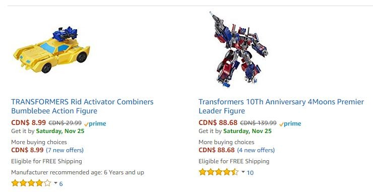 Transformers News: Canada Black Friday Transformers Sales