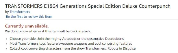 Transformers News: Listing for Generations Special Edition Deluxe Counterpunch on Amazon