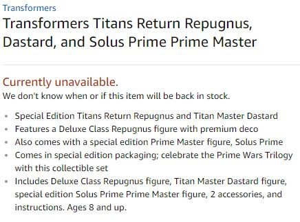 Transformers News: Generations Repugnus to Come with Titan Master Dastard and Solus Prime