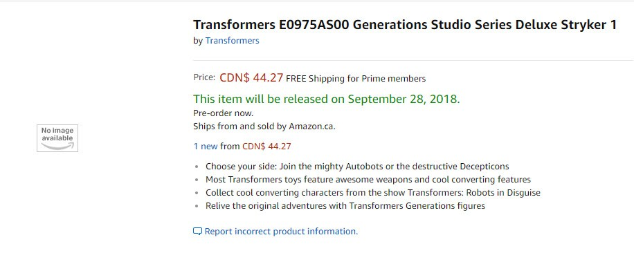 Transformers News: Release Date for Upcoming Studio Series Figures Shown in Amazon Preorders, Including New Bumblebee