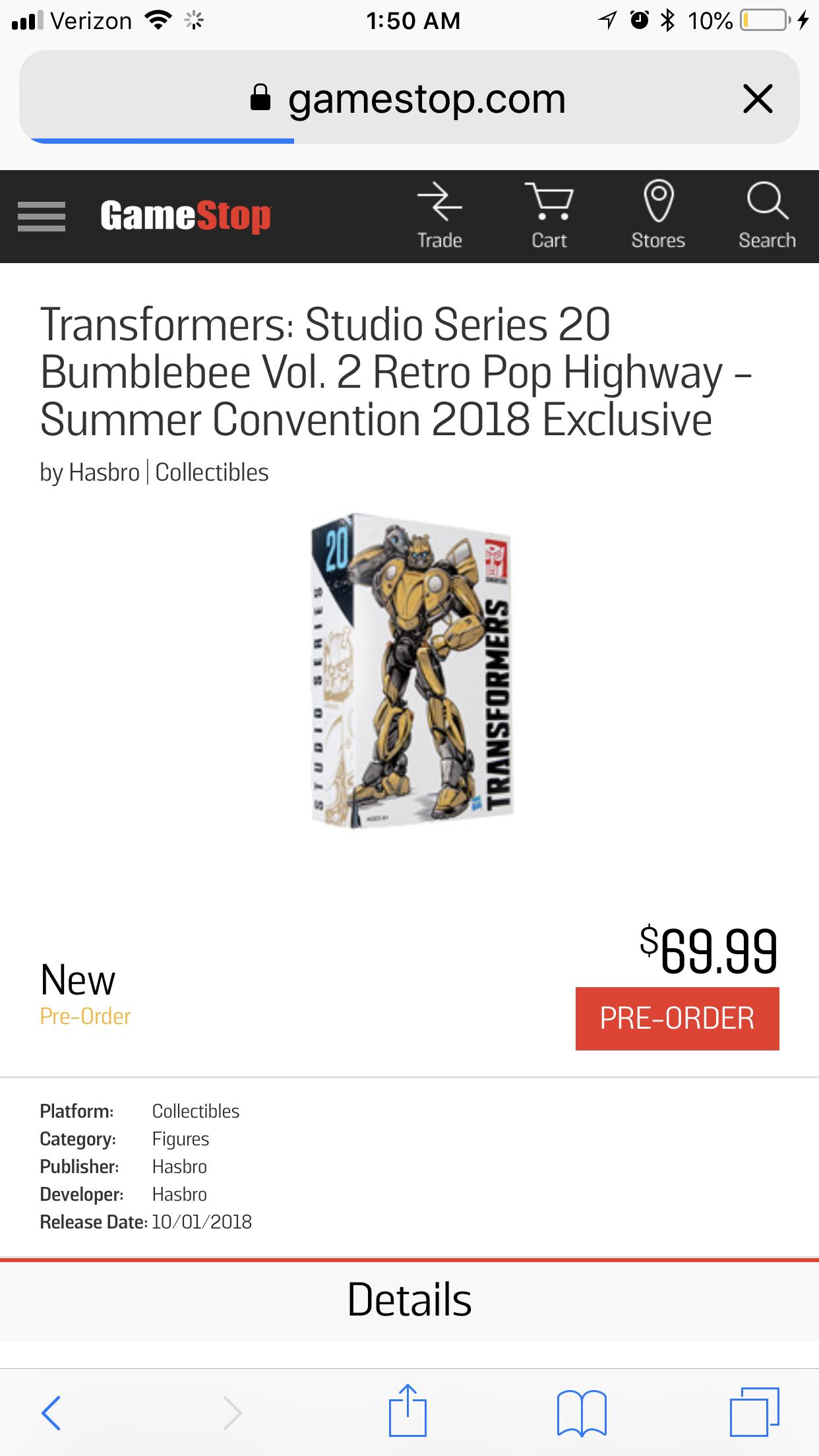 Transformers News: Transformers Studio Series 20 Bumblebee Retro Pop Garage vol 2 up for Preorder at Gamestop
