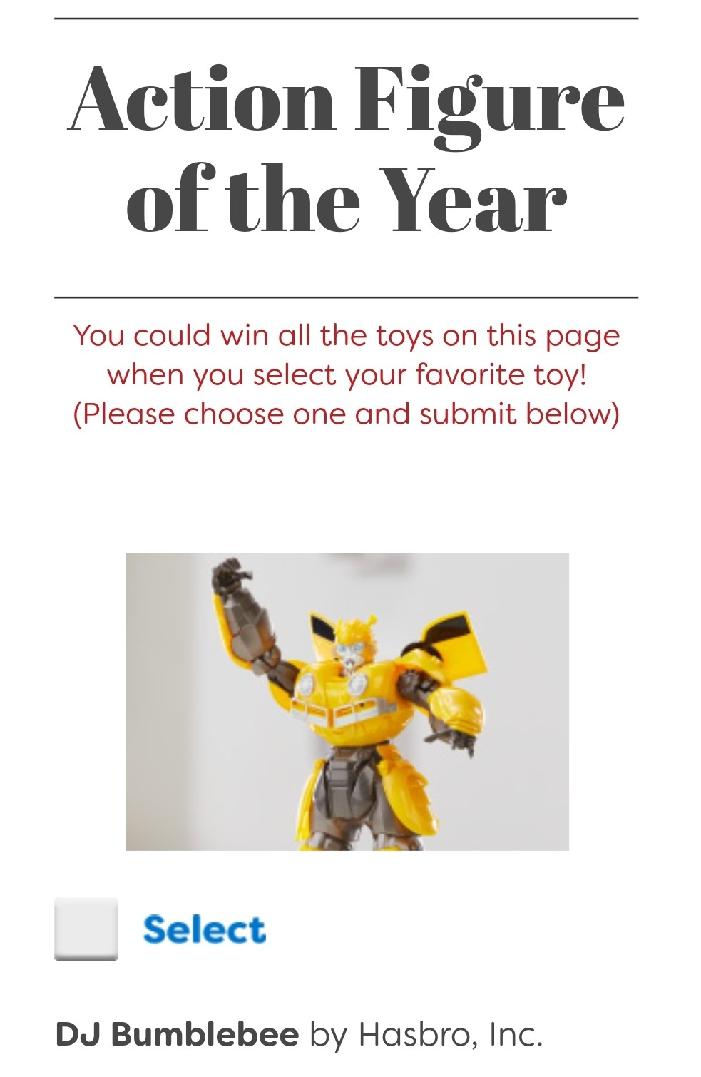 Transformers News: Transformers DJ Bumblebee Nominated for Toy of the Year
