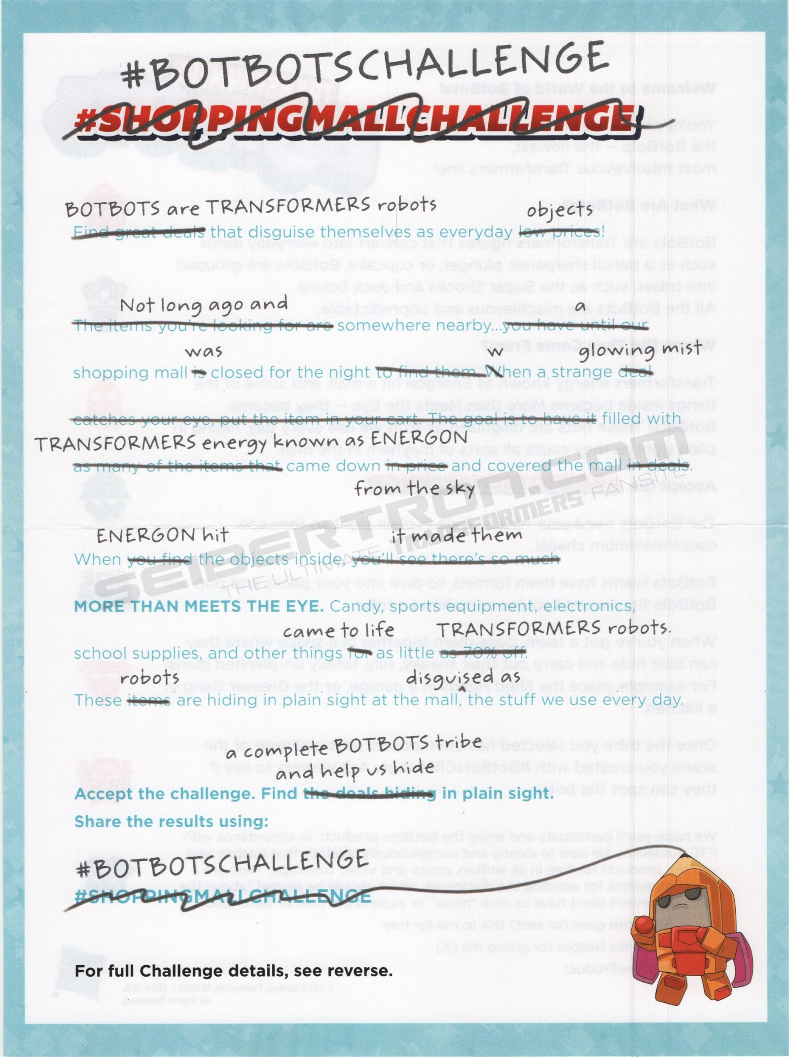 Transformers News: Dare You Accept...The Botbots Challenge?