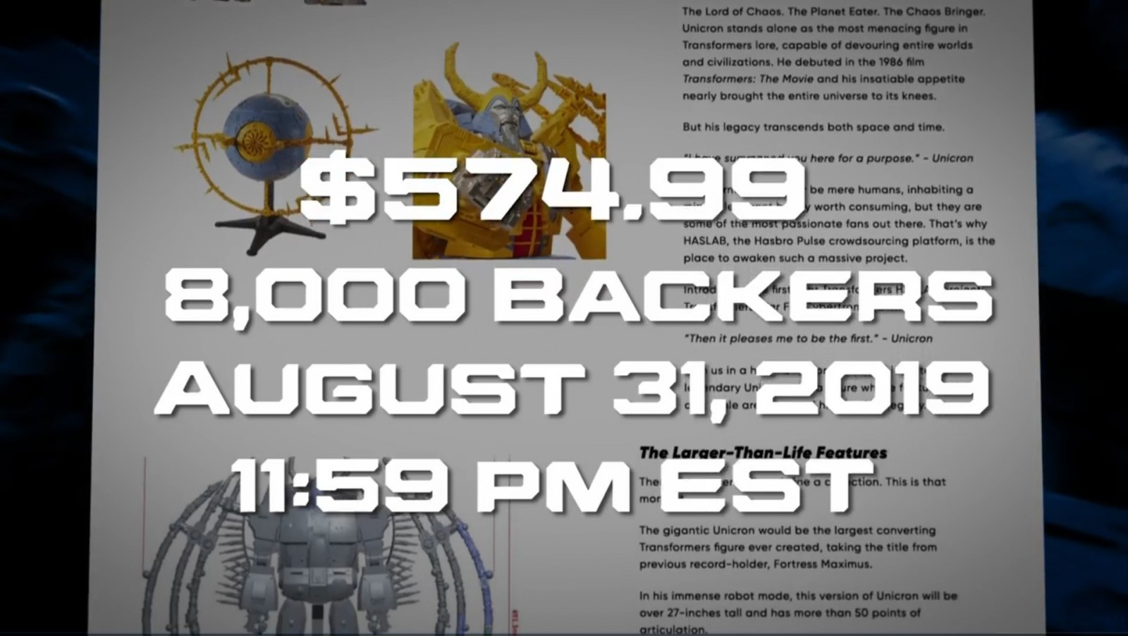 Transformers News: New Unicron Toy Revealed and will only Happen if 8000 Fans Preorder for $575 before August 31
